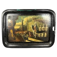 American Hand Painted Tole Tray Antique Georgian c1820