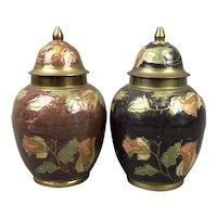Pair Of Flower & Leaves Enamelled Brass Pots Victorian Antique c1900