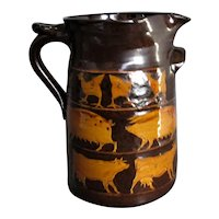 Large Studio Pottery Slipware Jug by Molly Athill