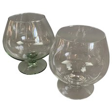 Pair Of Large Brandy Glass One Clear And One Green Colour Vintage c1970