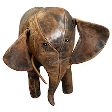 Handmade Liberty Style Leather Elephant Toy Or Footstool Vintage Art Deco c1930