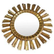 Gilt Wood Continental Sunburst Mirror Vintage c1950