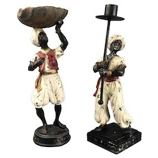 Pair of Moroccan Blackmore Figures with Shell and Candle Stick Vintage c1960