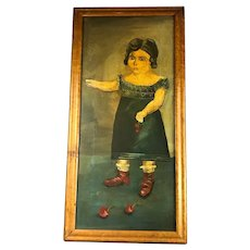 Naïve Portrait of Girl in Blue Dress & Cherries Helena Thomas Antique Georgian 1820