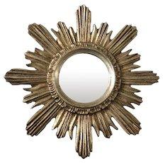 Small Silvered Wood Continental Sunburst Mirror Mid Century Vintage c1960