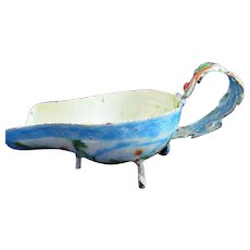 Chinese Enameled Sauce Boat With Dragon Handle Late 19th Century