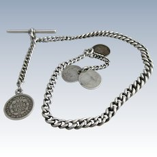 Sterling Silver Albert Watch Chain For Pocket Watch Antique