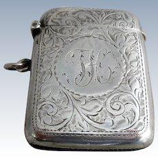 Sterling Silver Vesta Match Case Antique Birmingham 1863