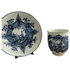 Porcelain Cup And Saucer In Mother And Child & Man Fishing Oriental Pattern Antique Worcester Fisherman pattern