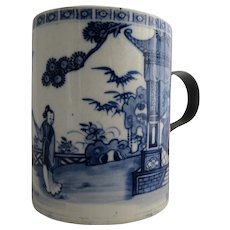 Porcelain Chinese Export Blue And White Mug Nanking Pattern Antique 18th Century
