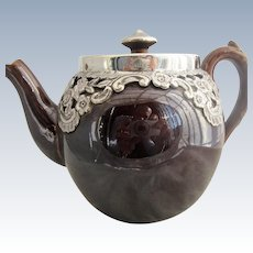 Brown porcelain China Teapot With Sterling Silver Hallmarked Mounts Antique Birmingham 1879