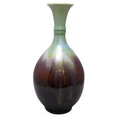 Ceramic Slip Glazed Vase In Celadon Green And Sang De Boeuf Glaze Vintage 20th Century.