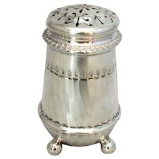 Small Antique Edwardian Sterling Silver Pounce Pot London 1909.