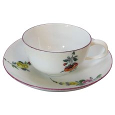 Antique Meissen Cup and Saucer Marcolini Period c1770.