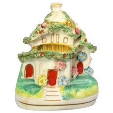 Small Antique Victorian Staffordshire Pottery House Pastille Burner.