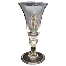 Large Commemorative King George VI Engraved Glass Goblet Royal Brierley Coin in Base c1937.