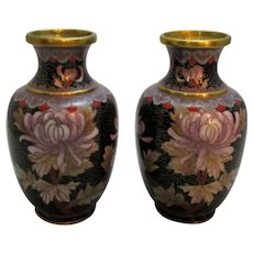 Pair of Small Vintage Chinese Cloisonne Vases.