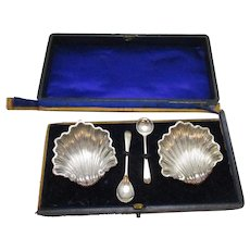 Pair Of Sterling Silver Scallop Salts Antique Edwardian Chester English BOX A/F.