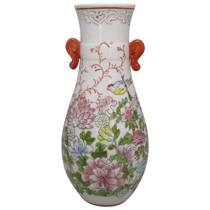 Oriental Hand Painted Fl Ceramic