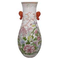 Oriental Hand Painted Floral Ceramic Vase Vintage.