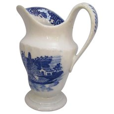 Antique Blue & White New Hall Jug with Classical Oriental Decoration c1790.