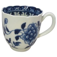 Small Antique Peony Pattern Worcester Blue & White Cup c1765.