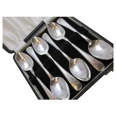 Boxed Set of 6 Vintage Silver Tea Spoons By Baker Bros Birmingham 1931.