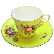 Antique Yellow Ground Cup & Saucer with Floral Painted Details 19th Century.