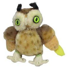 Steiff Wittie Owl Stuffed Animal Vintage c1950.