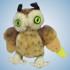 Steiff Wittie Owl Stuffed Animal Vintage c1950.