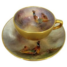 Stunning Miniature Antique Royal Worcester Cup & Saucer painted by Jaz Stinton c1919.