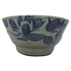 Antique 18th Century Provincial Chinese Blue & White Bowl.