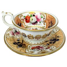 Highly Decorated Antique Victorian Tea Cup and Saucer c1870s.