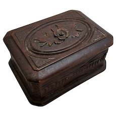 Antique Small Carved Black Forest Stamp Box Late 19th Century.