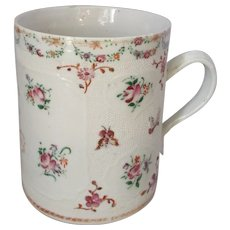 Chinese Antique 18th Century Medium Sized Famille Rose Mug.