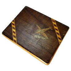 Second World War Wooden Cigarette Case 'Australia will be there'  c1939.