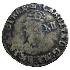 English Charles 1st Mint Mark Crown Antique c.1636.