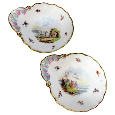 Pair of Helena Wolfsohn Meissen Style Pickle Dishes Antique 19th Century.