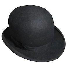 English Fine Fur Felt Bowler Hat By Hodges Vintage 20th Century.