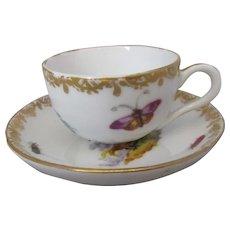 Meissen Style Helena Wolfsohn Porcelain Miniature Cup & Saucer Antique Victorian C1880.