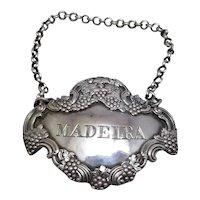 English Silver Madeira Label Antique c.1818.