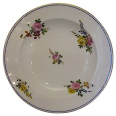Sevres Soup Bowl with Floral Details Antique 18th Century.