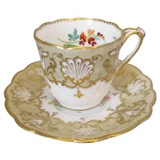 Antique Cup and Saucer by John Ridgeway Victorian c1850.