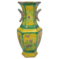 Vintage Chinese Hexagonal Form Classical Vase.