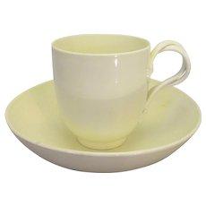 English Cream Ware Cup & Saucer Antique 18th Century.
