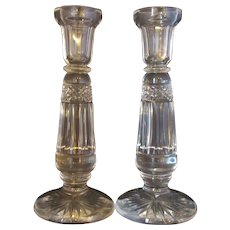 Antique Pair Cut Glass Candlesticks c1900.