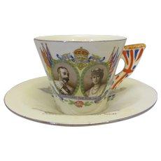 English Burleigh Ware Royal Silver Jubilee Cup & Saucer Vintage c1935.