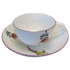 Antique Meissen Porcelain Cup & Saucer c1770.