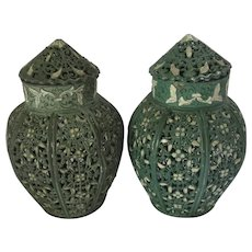 Pair of Pomanders Potpourri Perfume Pots by JN Taylor of London Vintage Art Nouveau c1920.