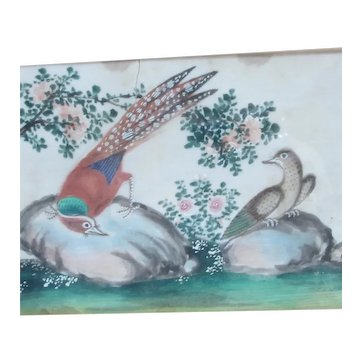 Pair of Birds & Flowers Chinese Rice Paintings Antique c1800
